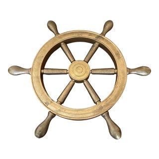 Vintage 1970s Brass Ships Wheel Decor For Sale