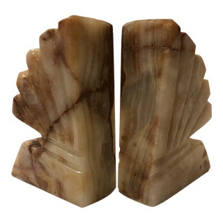 Light Citrine Colored Marble Shelled Book Ends - a Pair For Sale