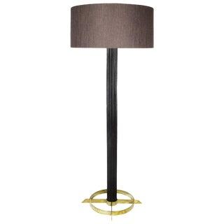 1960s Standing Lamp, Striated Walnut Stand, Brass, Jordi Vilanova - Barcelona For Sale