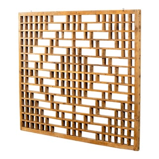 Mid Century Chinese Carved Rustic Wooden Window Screen For Sale
