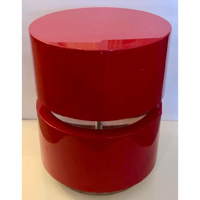 This is a great vintage swivel stool or small side table made of solid wood and Lucite. It is painted in a beautiful...
