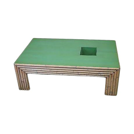 Vintage Art Deco Rattan Bamboo Coffee Table For Sale