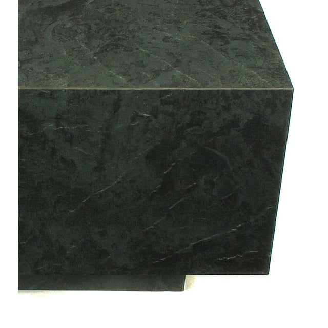 Modern Floating Square Coffee Table in Green and Black Slatelike Material For Sale - Image 3 of 6