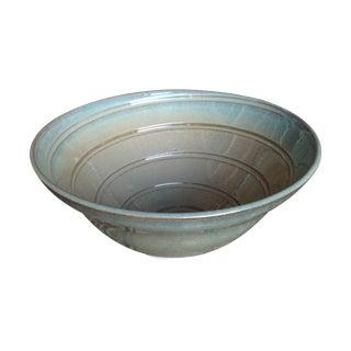 Large Seafoam Green Porcelain Studio Pottery Bowl For Sale