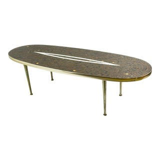 Mosaic Mid Century Tile Top Oval Table