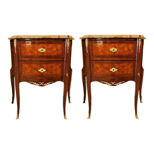 French Marble Top Two Drawers Bronze-Mounted Tables or Nightstands - a Pair For Sale - Image 10 of 10