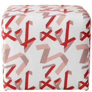Cube Ottoman in Pink & Red Ribbon by Angela Chrusciaki Blehm for Chairish Preview