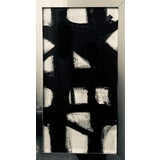 Image of Vertical Franz Kline Inspired Original Black and White Framed Painting For Sale