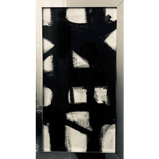 Vertical Franz Kline Inspired Original Black and White Framed Painting For Sale