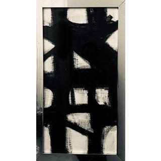 Vertical Franz Kline Inspired Original Black and White Framed Painting For Sale