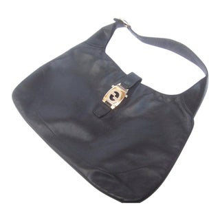 "Gucci Italy Ebony Leather Jackie ""O"" Handbag C 1970s For Sale"