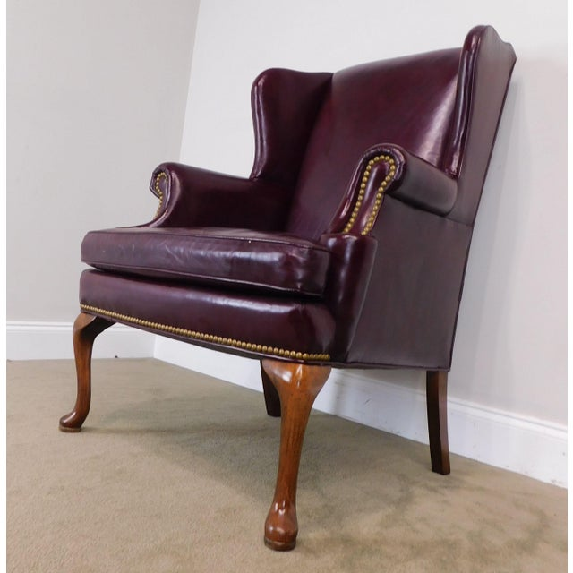 Astounding Sherrill Oxblood Red Leather Queen Anne Wing Chair Creativecarmelina Interior Chair Design Creativecarmelinacom