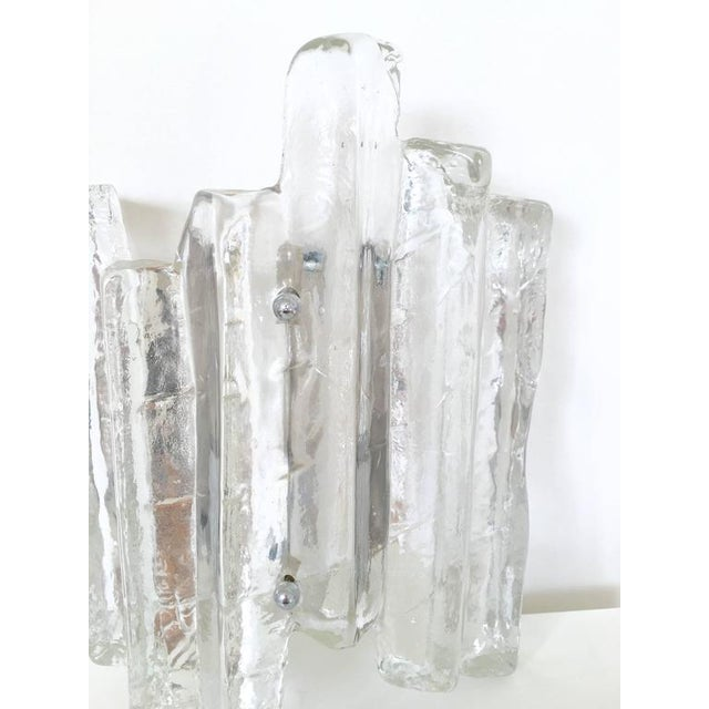 Glass Ice Glass Sconce In the Style of Kalmar - Image 10 of 10