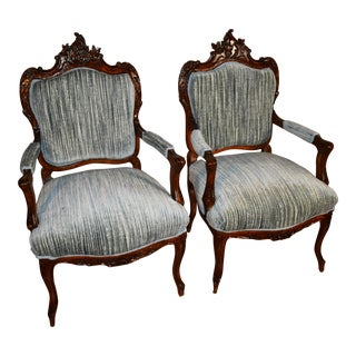 1910s Antique French Louis XV Walnut Bed Room Fireplace Side Chairs - a Pair For Sale
