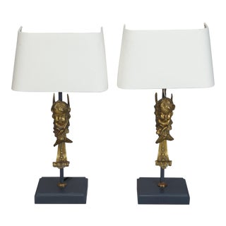 Pair of 19th Century Bronze Puti Cherub Lamps