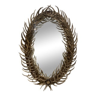 Contemporary Oval Antler Mirror For Sale