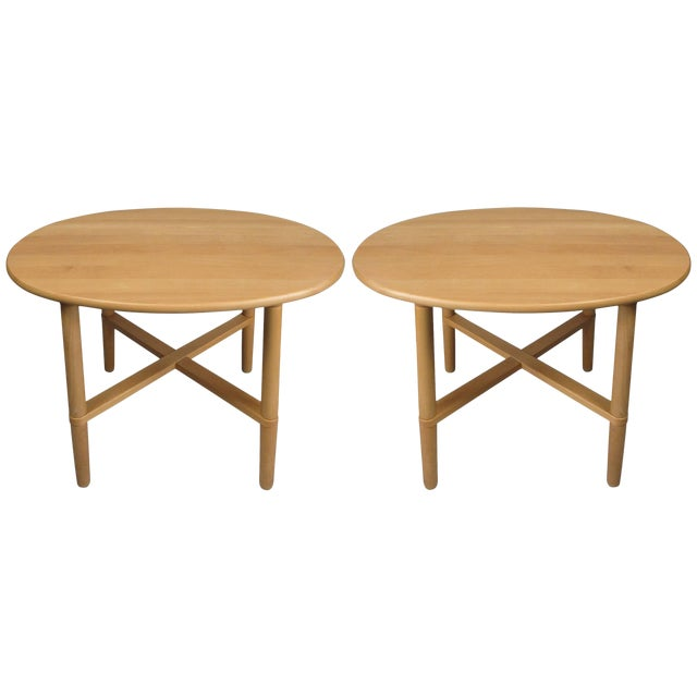 Pair of Oval Danish Tables by Haslev For Sale