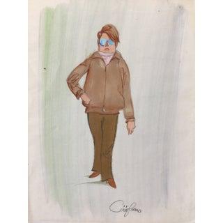 1970's Vintage Caricature Illustration, Blue Glasses For Sale