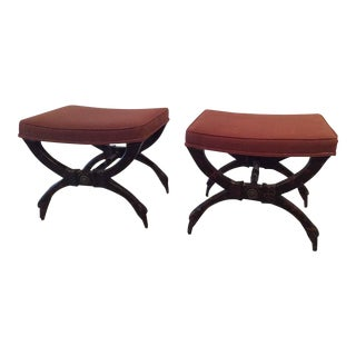 Vintage Hollywood Regency Palm Beach Swan X Benches Stools - a Pair