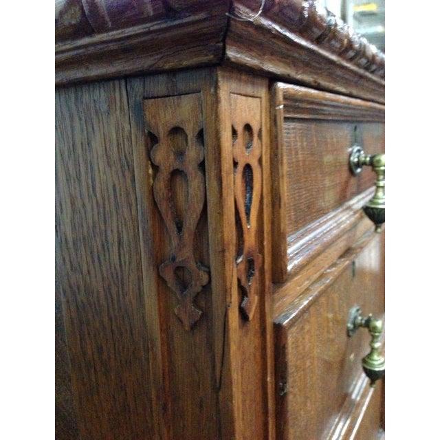 Antique English Tiger Oak Carved Desk - Image 7 of 10