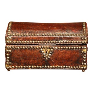 19th Century French Louis XIII Leather Trunk Box With Decorative Brass Nails