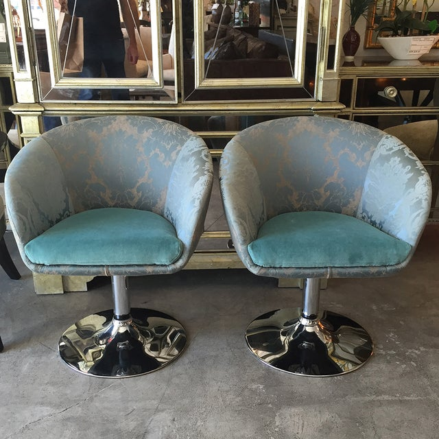 Vintage Custom Teal Swivel Chairs - A Pair - Image 3 of 11