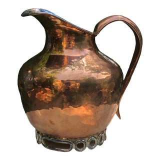 Late 20th Century Emilia Castillo Mexican Taxco Artist for Neiman Marcus Handmade Hammered Copper & Silverplate Pitcher For Sale