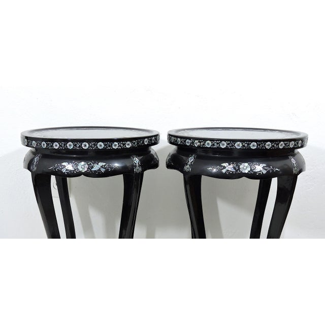 Wood Antique Black Lacquer and Mother of Pearl Inlayed Oriental Side or Accent Tables - a Pair For Sale - Image 7 of 7