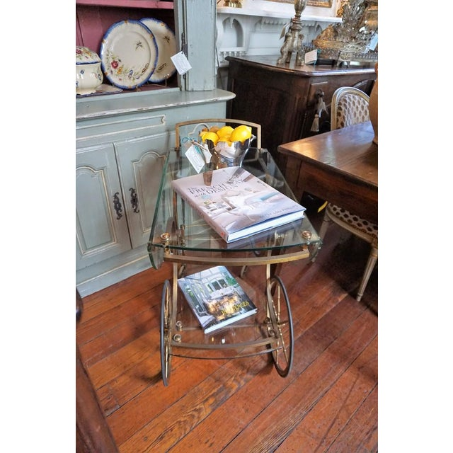 French Brass and Glass Service Table For Sale - Image 9 of 10