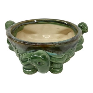 Vintage Heavy Green Ceramic Turtle Planter