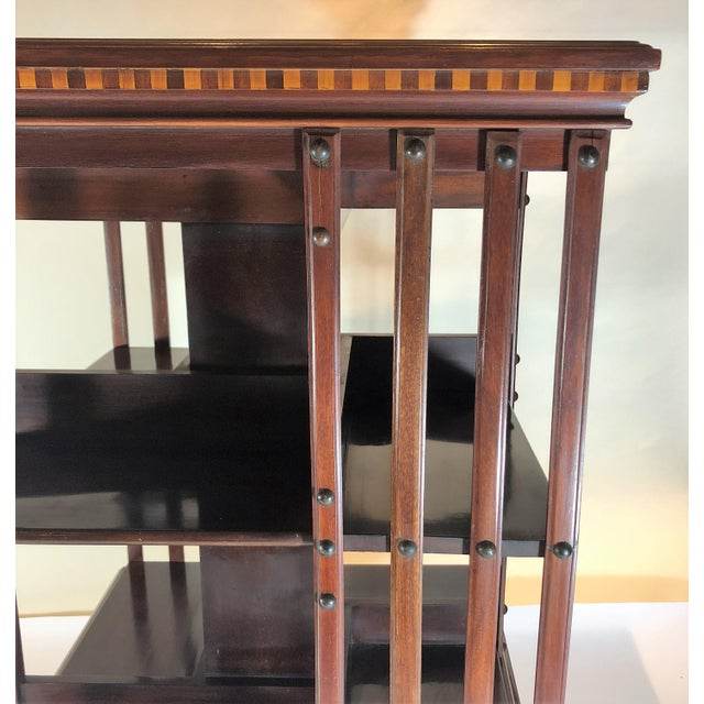 Antique English 19th Century Mahogany and Satinwood Inlay Bookstand. For Sale In New Orleans - Image 6 of 7