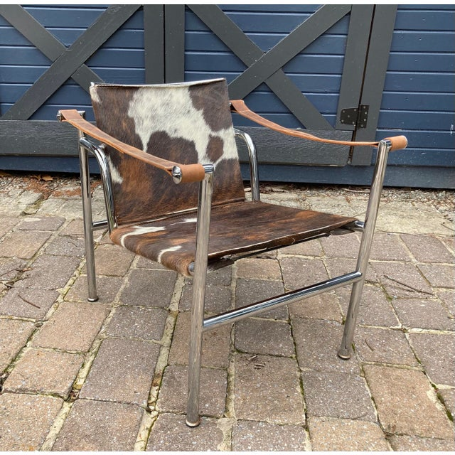 Brown Vintage Mid Century Crome and Pony Arm Chair For Sale - Image 8 of 8