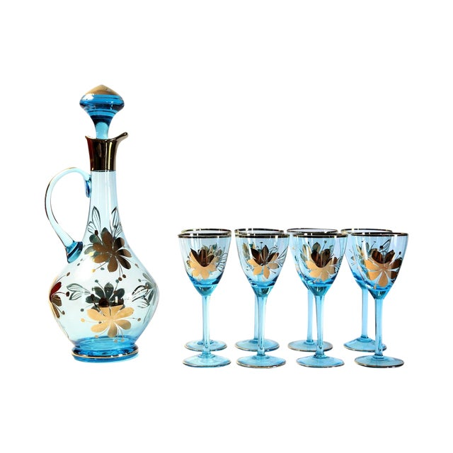 Blue Carafe With Glasses - Set of 9 - Image 1 of 6