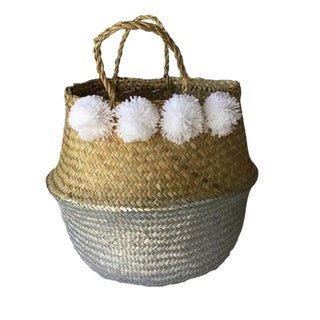 Large Silver Dipped Seagrass Belly Basket With Pom Pom For Sale