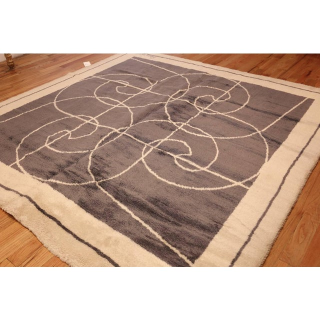Abstract Mid-Century Square Size Rug by Pierre Cardin - 8′ × 8′ For Sale - Image 3 of 7
