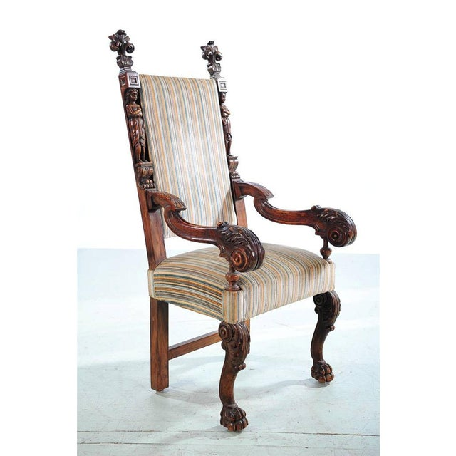 19th Century Carved Renaissance Arm Chair For Sale - Image 4 of 10