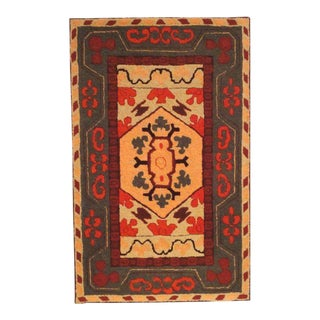 Fantastic and Colorful Mounted Hand-Hooked Rug from Lancaster, PA For Sale