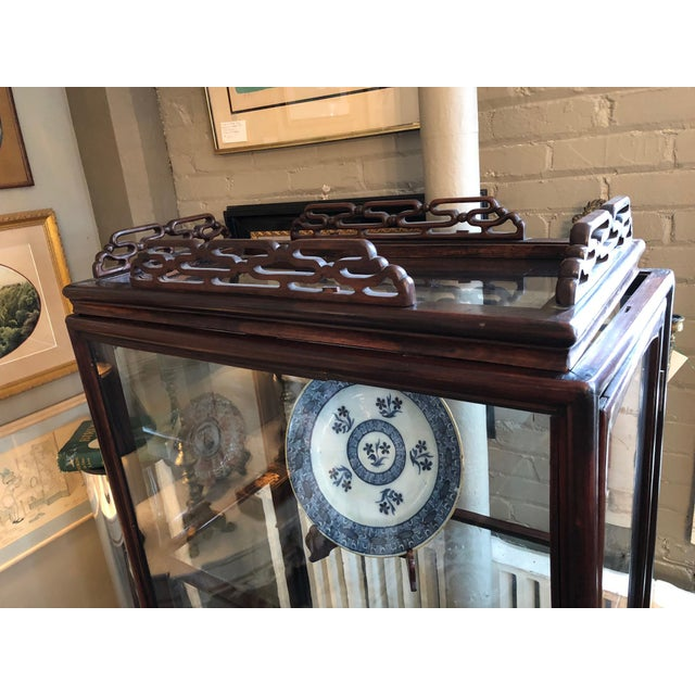 Brown 19th Century Chinese Rosewood Hand Carved 3 Shelf Curio Display Cabinet With Two Side Doors For Sale - Image 8 of 13