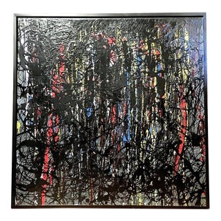 Large Vintage Mid Century Modern Abstract Oil Painting Splatter Pollock in Black For Sale