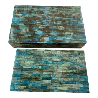 Blue & Brown With Wood Tile Boxes - A Pair For Sale