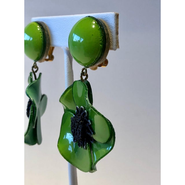 2000 - 2009 Cilea Green Poppy French Statement Earrings For Sale - Image 5 of 11