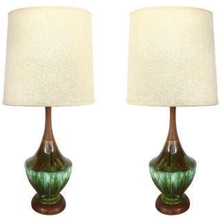 Phil-Mar Mid-Century Teak and Ceramic Table Lamps With Drip Glaze For Sale