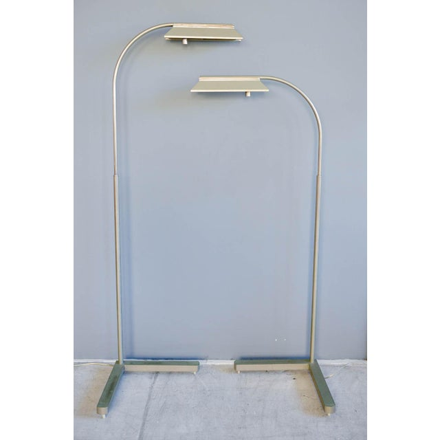 1970s Casella Brushed Nickel Adjustable Dimmable Floor Lamps - a Pair - Image 9 of 9