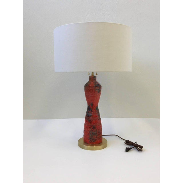 Italian Ceramic and Brass Table Lamp by Bitossi - Image 3 of 9