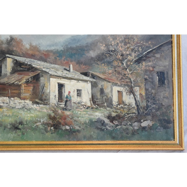 Early 20th Century Rustic Framed Country Cottage Landscape Oil Painting For Sale - Image 5 of 10