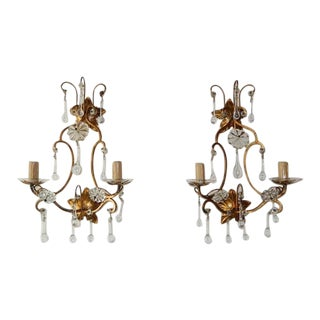 1940 French Maison Bagues Style Clear Drops Flowers Sconces For Sale