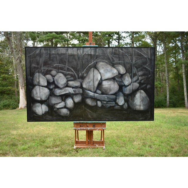 Large Painting of a Stone Wall For Sale - Image 11 of 11