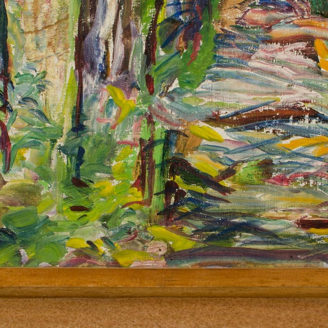 """Mid 20th Century """"Allee"""" Expressionist Style Forest Landscape Oil Painting by Elisabeth Merlicek, Framed For Sale - Image 12 of 13"""