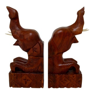 Carved Wood Elephant Bookends - A Pair For Sale