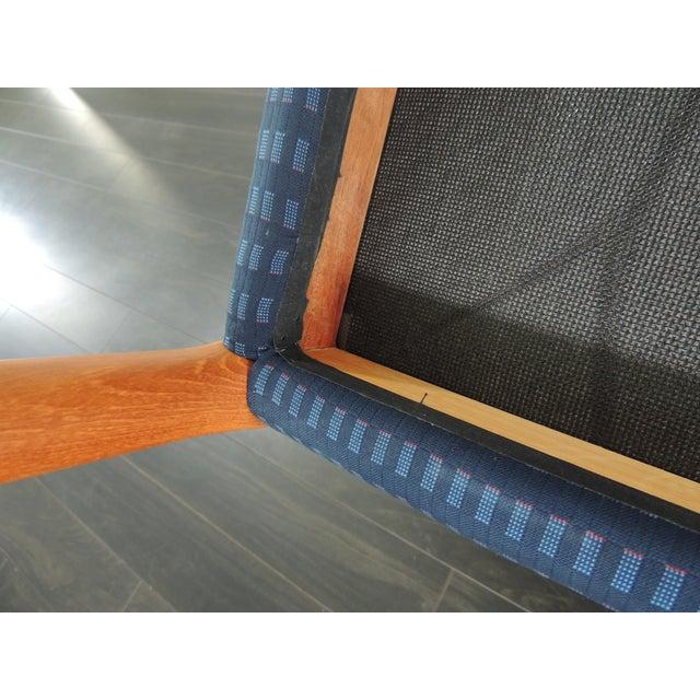 1970's Vintage J.L. Møllers Møbelfabrik Danish Modern Blue Bench For Sale - Image 10 of 11
